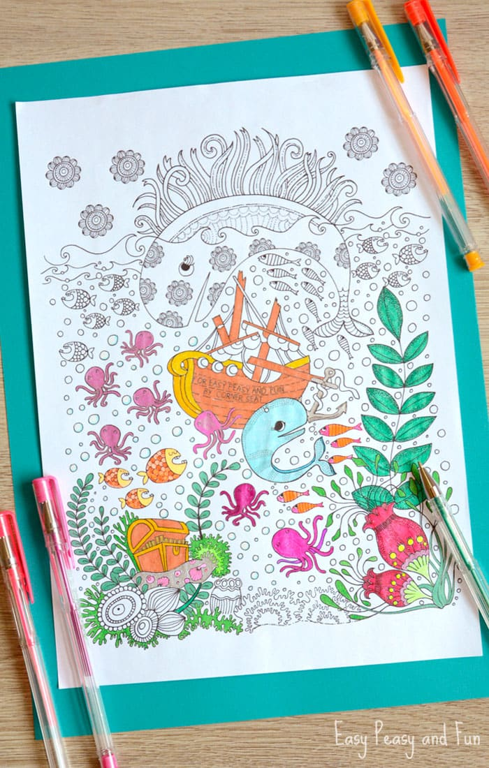 Free Printable Ocean Coloring Page for Adults - perfect coloring page to relax during the summer