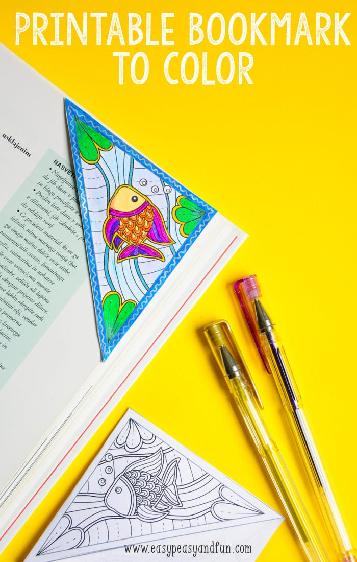 Printable Sea Corner Bookmark to Color