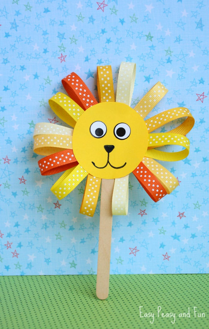 Ribbon lion puppet craft lion crafts for kids easy for How to make craft