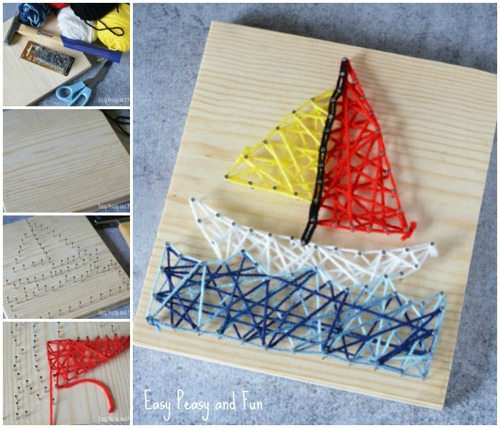 Sailboat String Art Craft for Kids