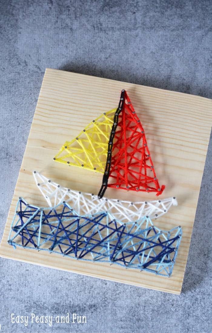 Sailboat string art for kids easy peasy and fun for Arts and craft activities for kids