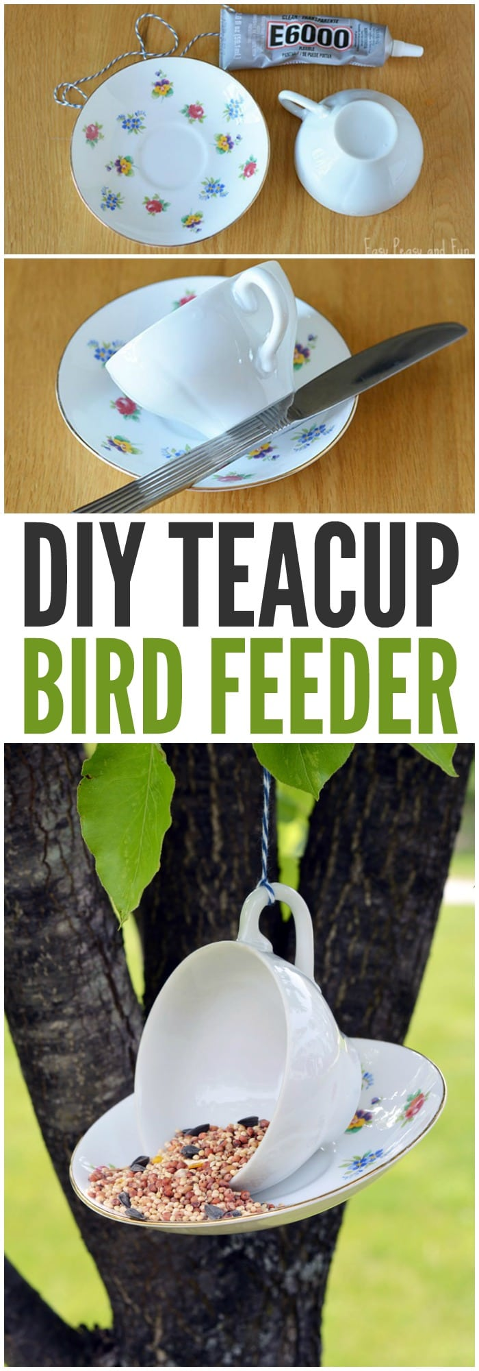 Simple DIY Teacup Bird Feeder Craft