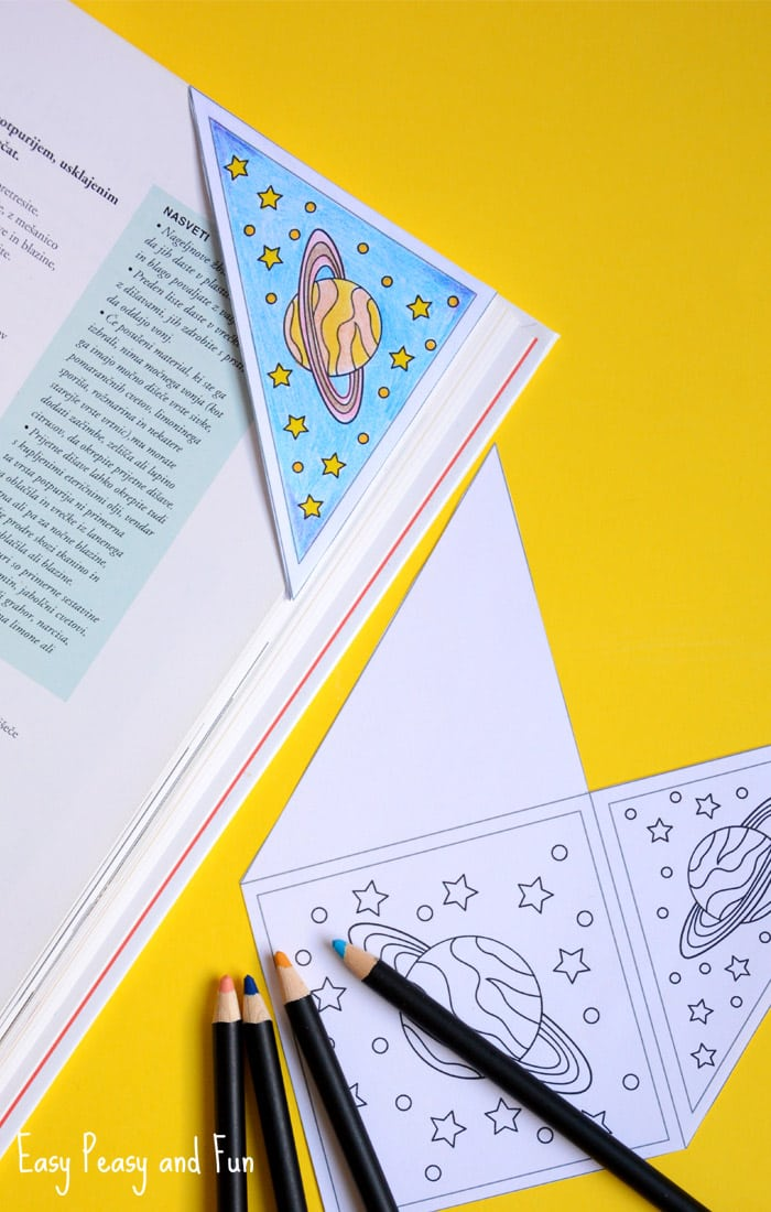 Printable space corner bookmark for kids