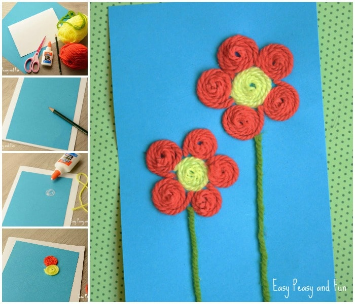 Yarn Flower Craft for Kids