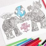 Free Elephant Coloring Page for Adults Support World Elephant Day
