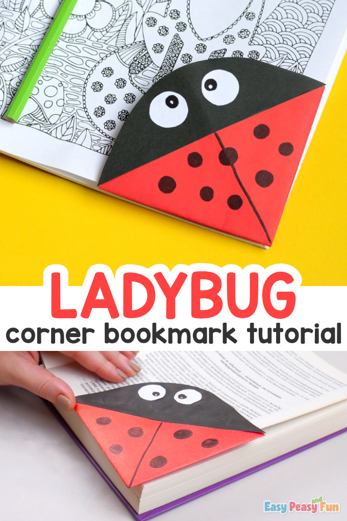 Ladybug Corner Bookmark Origami for Kids