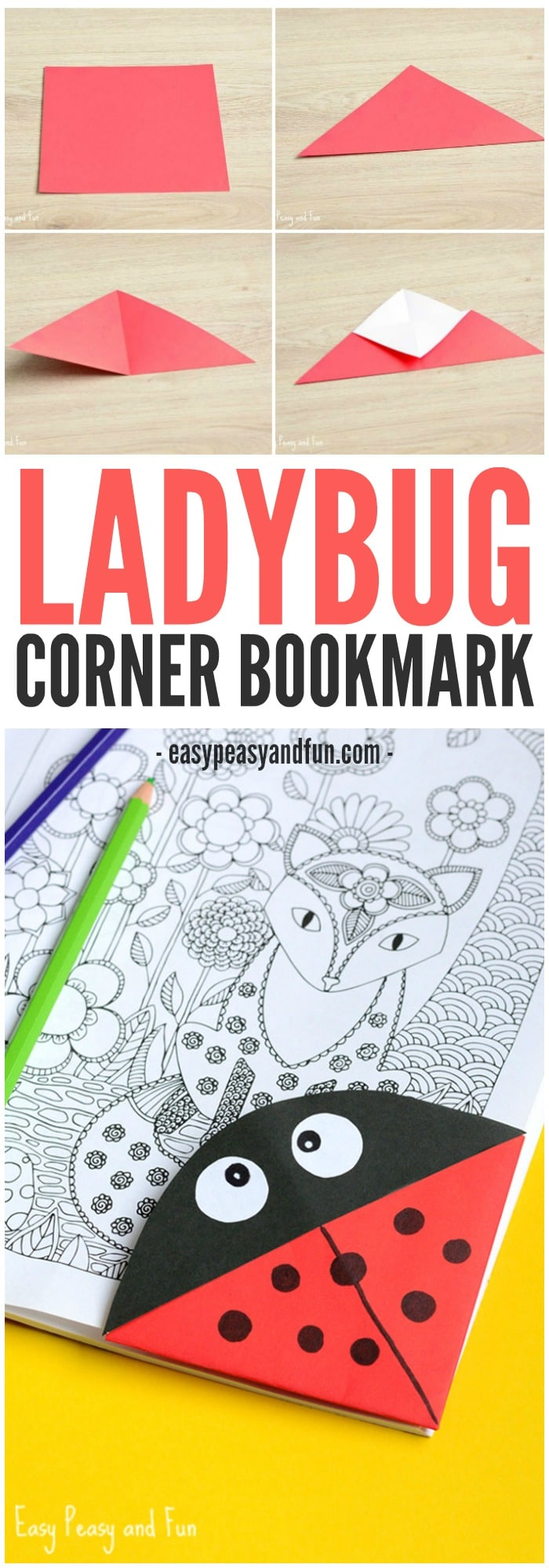 Ladybug Corner Bookmark Origami For Kids Easy Peasy