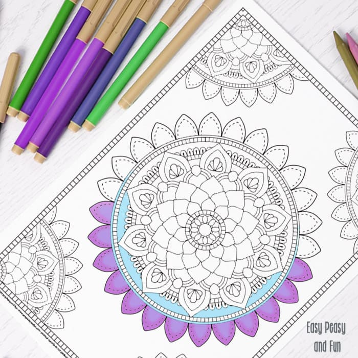 Mandala Coloring Page - Coloring for Adults - Easy Peasy and Fun