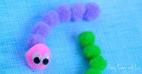 Pom Pom Caterpillar Craft Easy