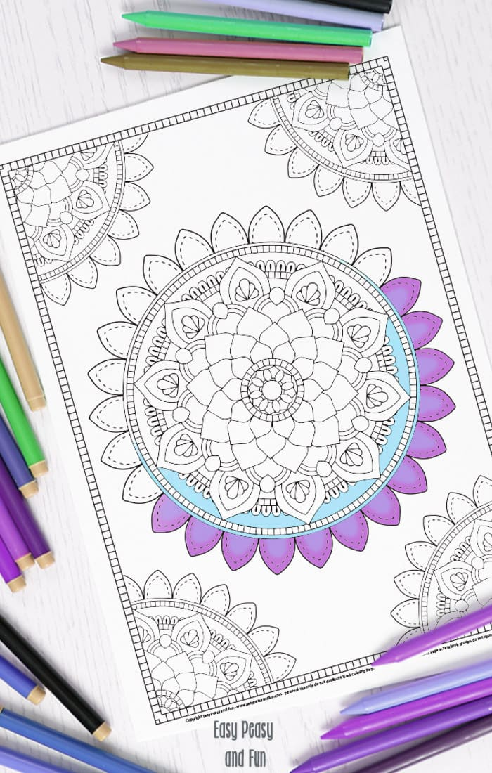 mandala coloring page coloring for adults easy peasy