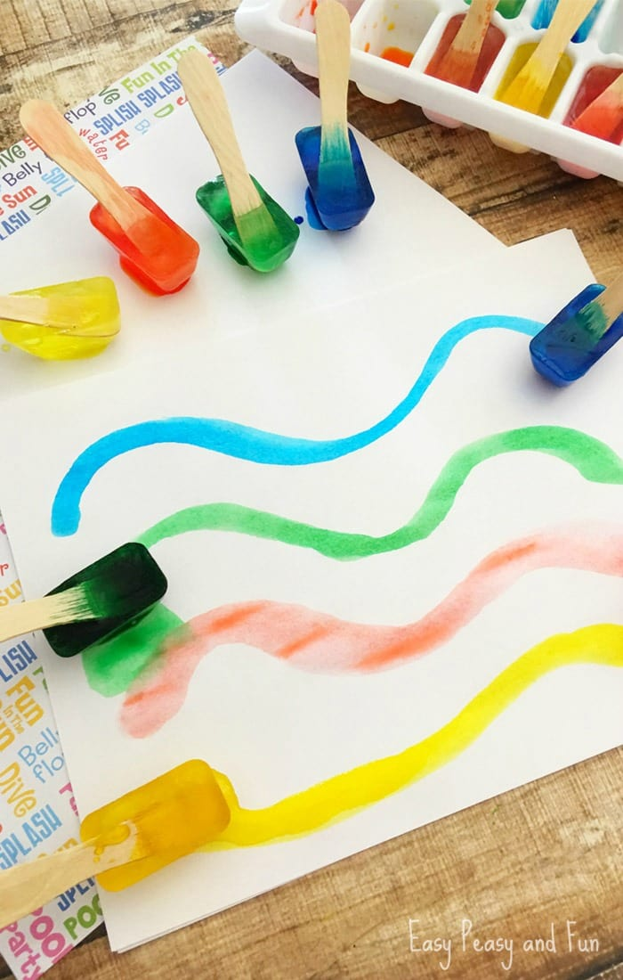 Painting with ice make your own ice paint easy peasy Fun painting ideas for toddlers