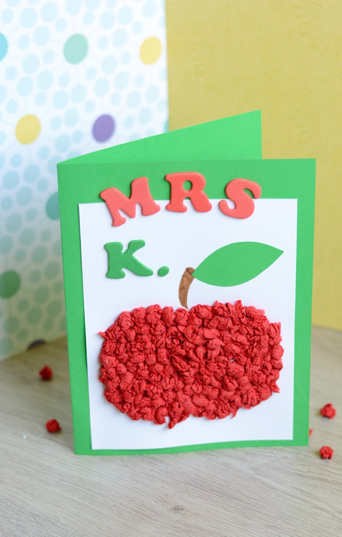 Tissue Paper Apple Card for a Teacher