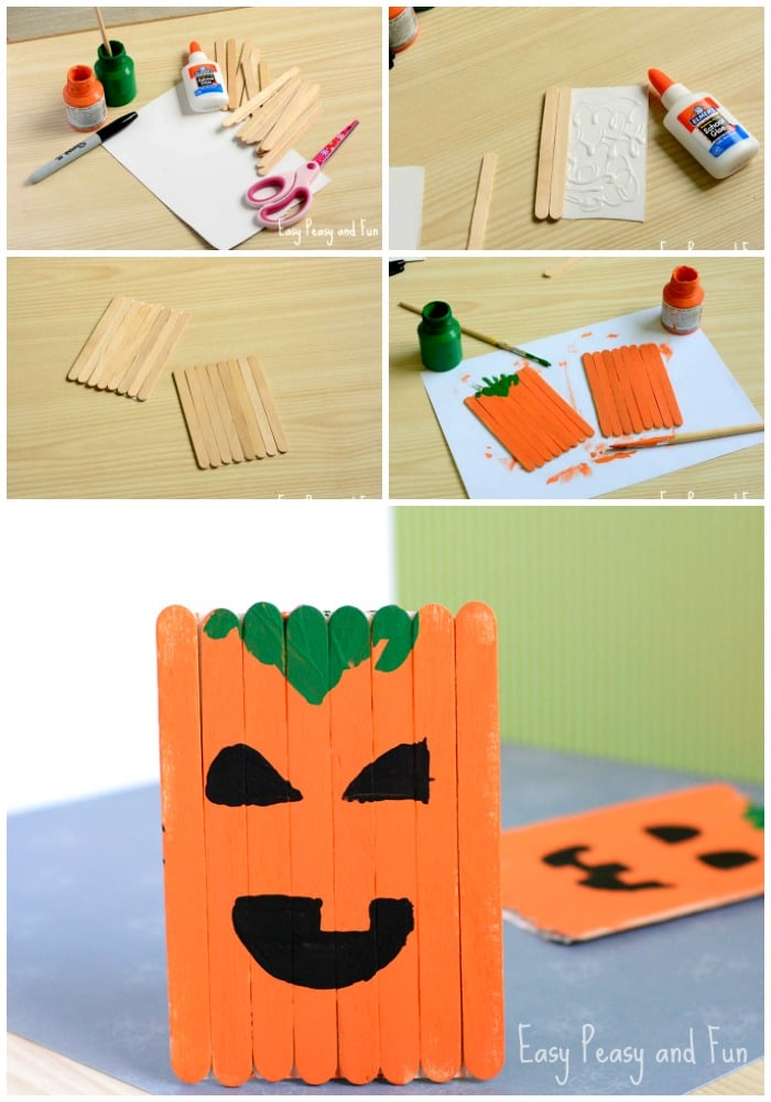 Adorable Popsicle Stick Pumpkin Craft for Kids