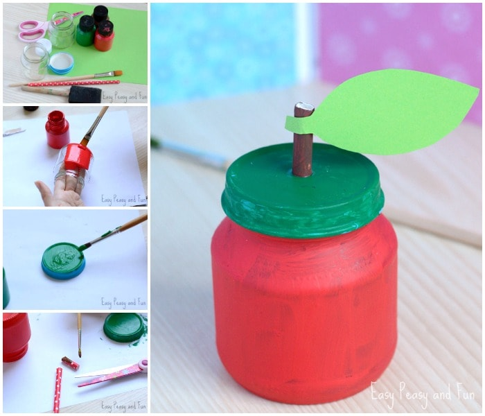 Cute Apple Jar Craft for Kids