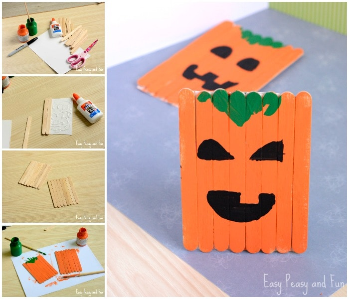 Cute Popsicle Pumpkin Craft