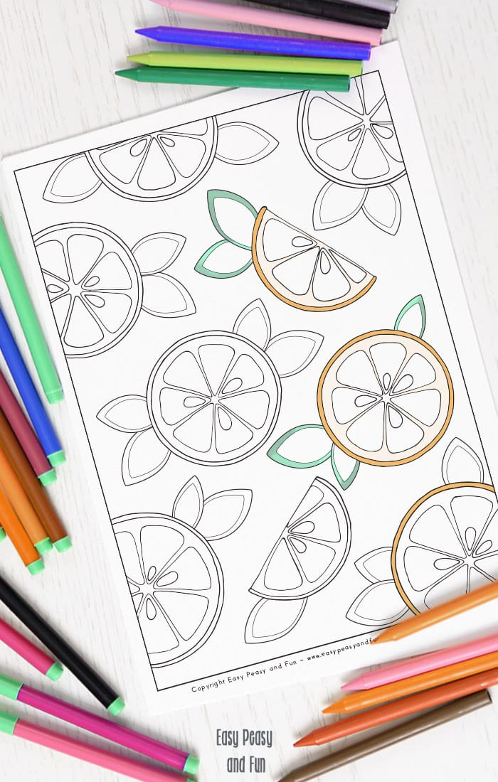 Fruity Oranges Coloring Page for Adults and Kids