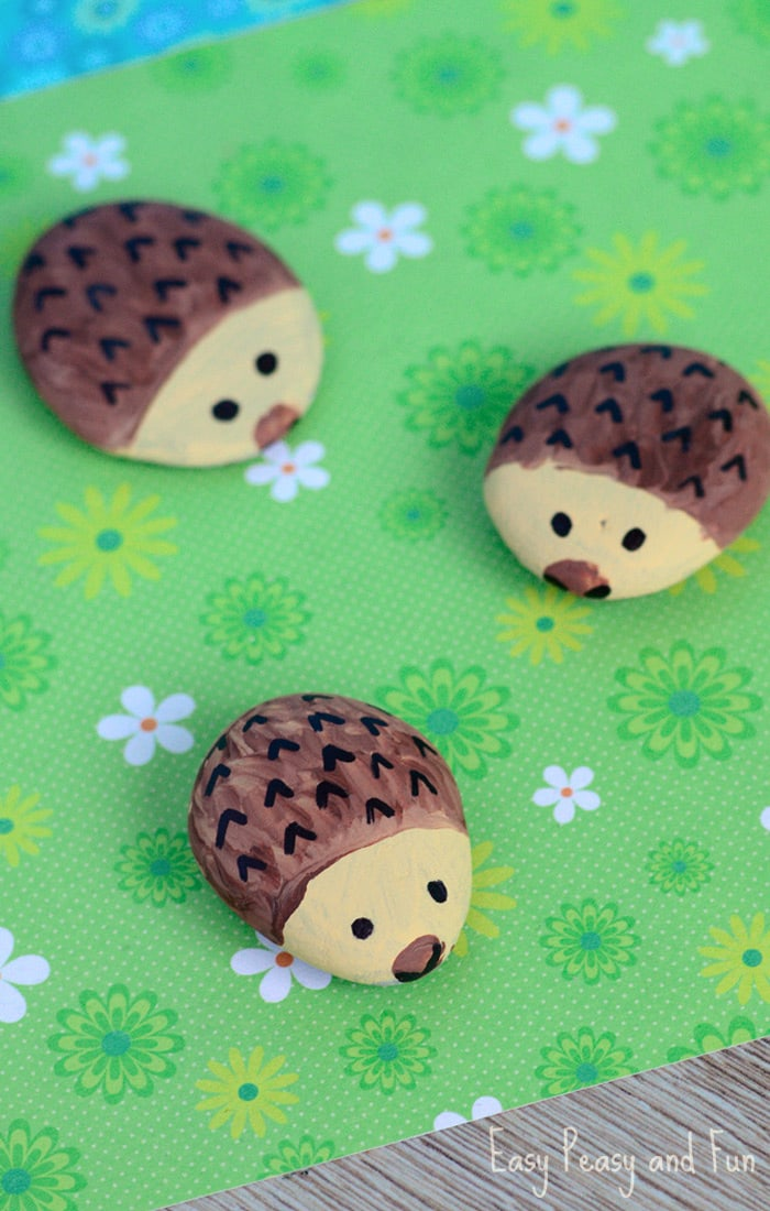 Hedgehog Painted Rocks Rock Crafts For Kids Easy Peasy