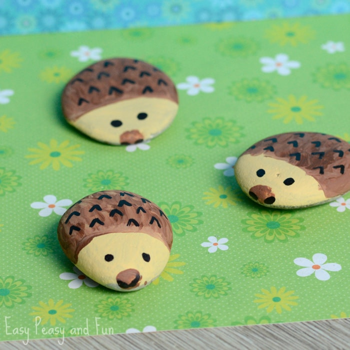 Hedgehog Painted Rock Art for Kids
