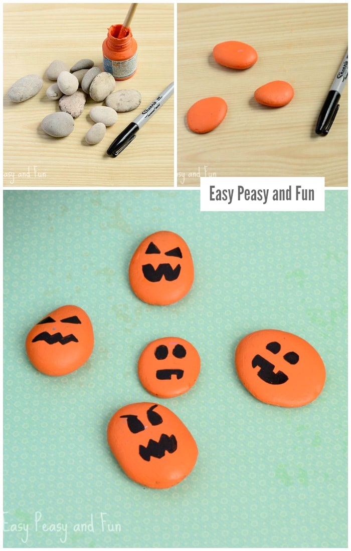 Painted Halloween Pumpkin Rock Craft