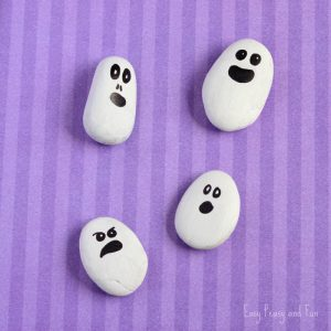 Painted Rock Ghosts Craft – Halloween Craft