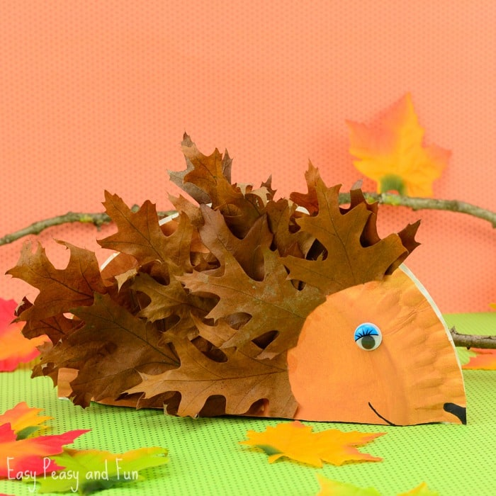 Art Ideas With Leaves: Paper Plate Hedgehog Craft