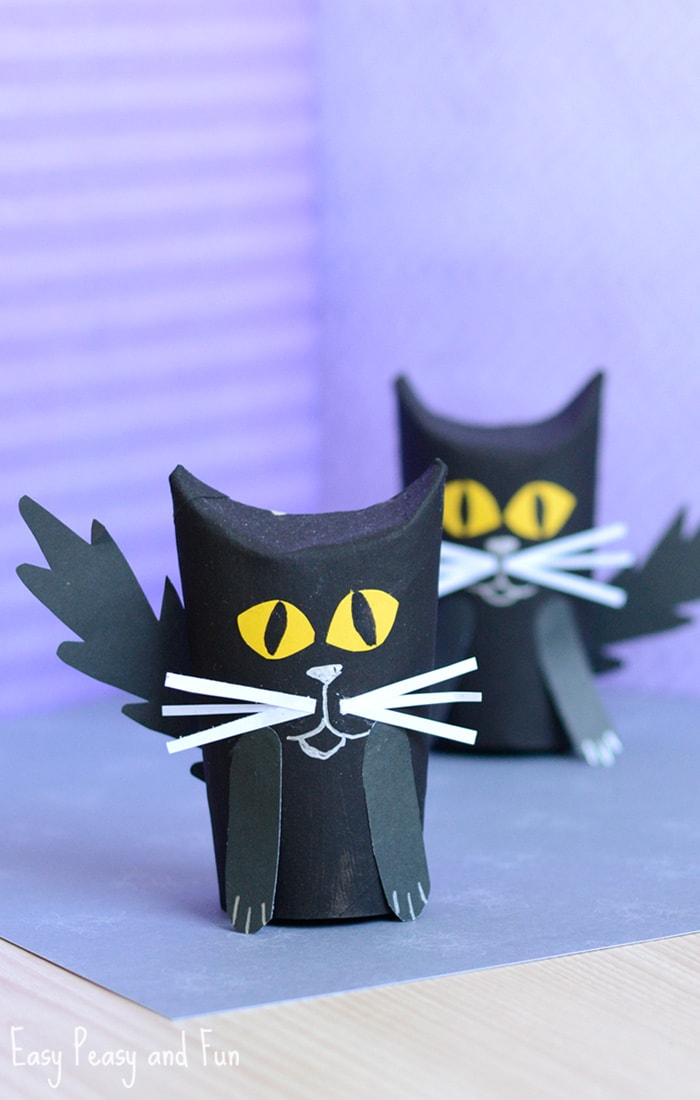 Paper Roll Black Cat Craft for Kids
