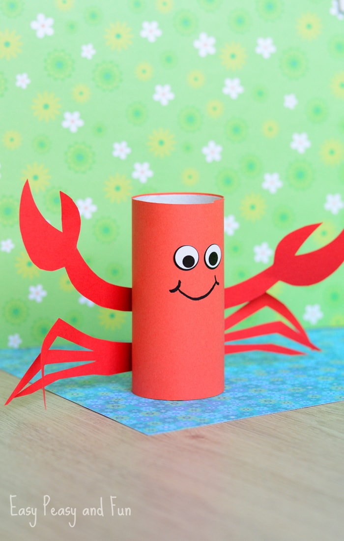 Paper Roll Crab Craft for Kids & Paper Roll Crab Craft - Easy Peasy and Fun
