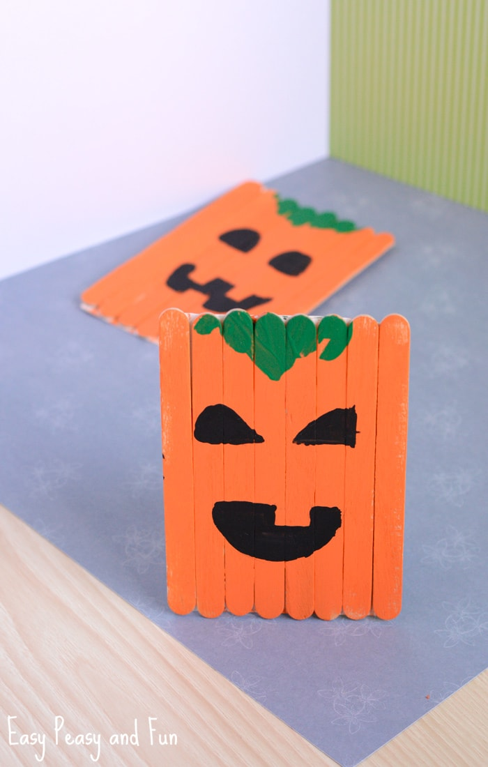 Popsicle Stick Pumpkin Craft for Kids