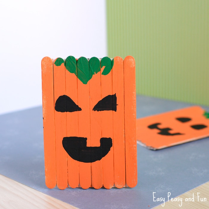 Popsicle Stick Pumpkin Craft Halloween Craft Easy Peasy And Fun