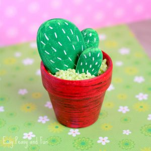 DIY Rock Cactus Craft – Painting Stones