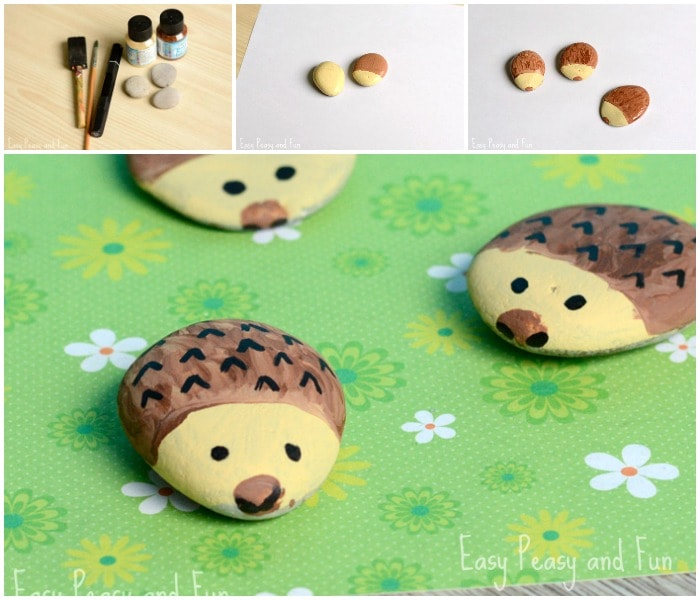 Stone hedgehog stone craft for little ones