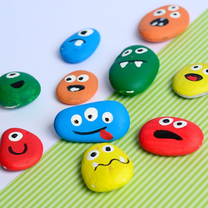 Monster Rock Painting - Cute stone crafts for kids