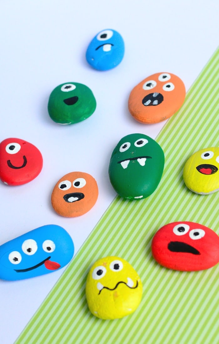 Painted Monster Rocks on Fall Coloring Pages