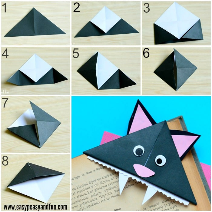 Cat Corner Bookmarks Halloween Origami For Kids Easy Peasy And Fun