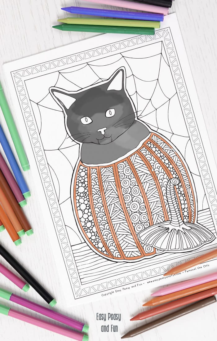 Cat in a Pumpkin Halloween Coloring Page