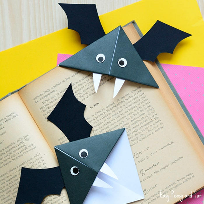 diy bat corner bookmarks halloween crafts