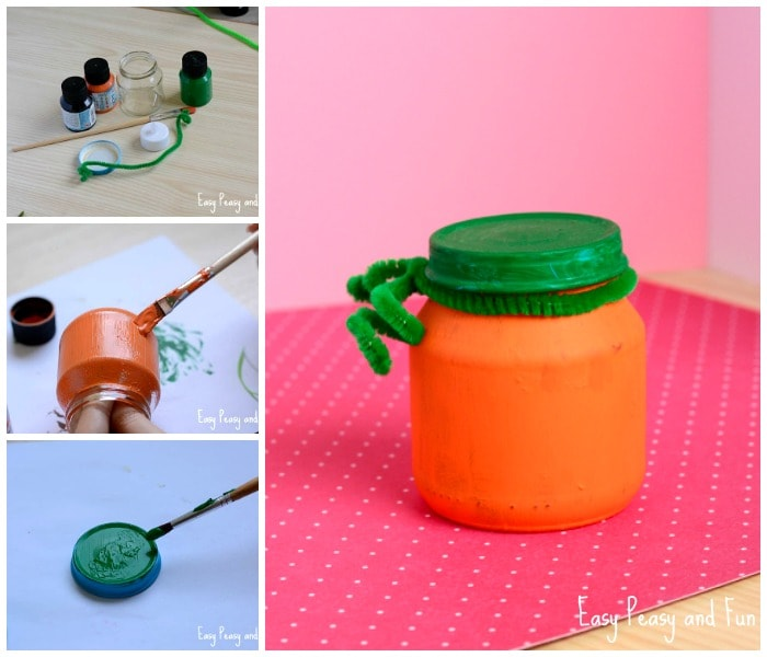Cute Pumpkin Jar Craft for Kids