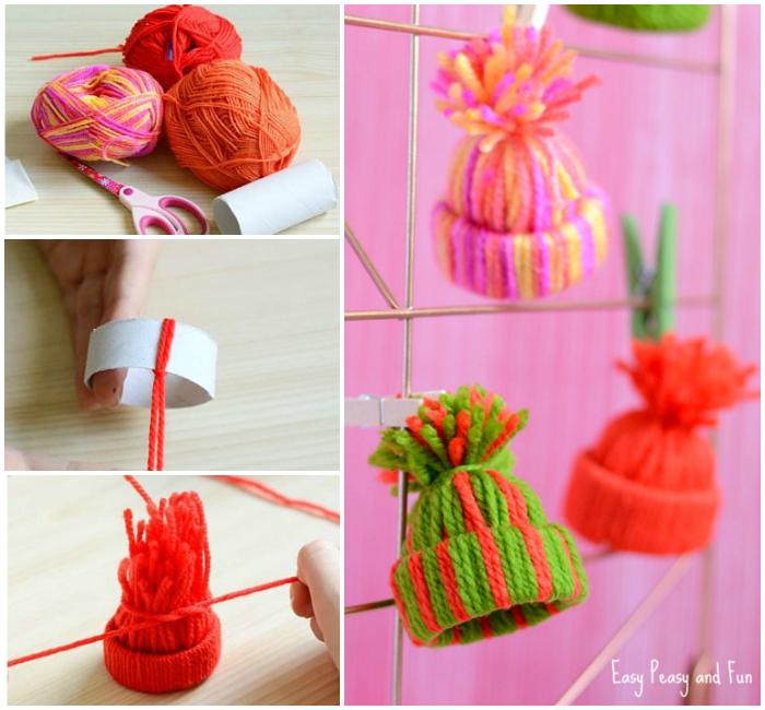 Mini Yarn Hats Ornaments Diy Christmas Ornaments Easy Peasy And Fun