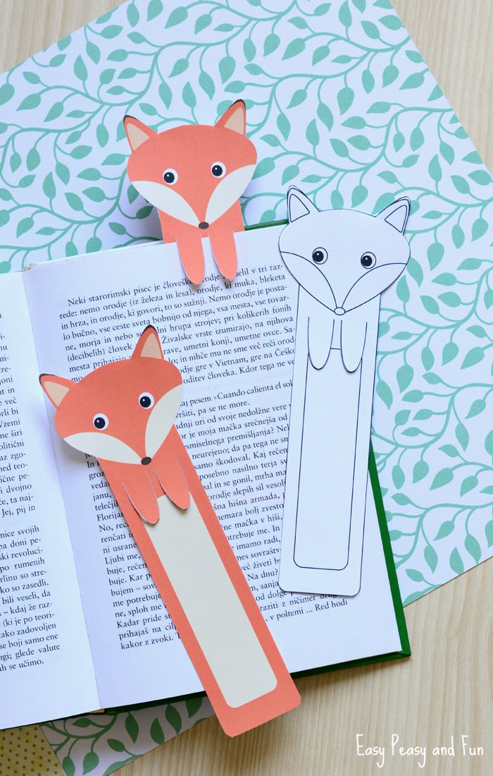 Printable fox bookmarks diy bookmarks easy peasy and fun for Creative craft ideas with paper