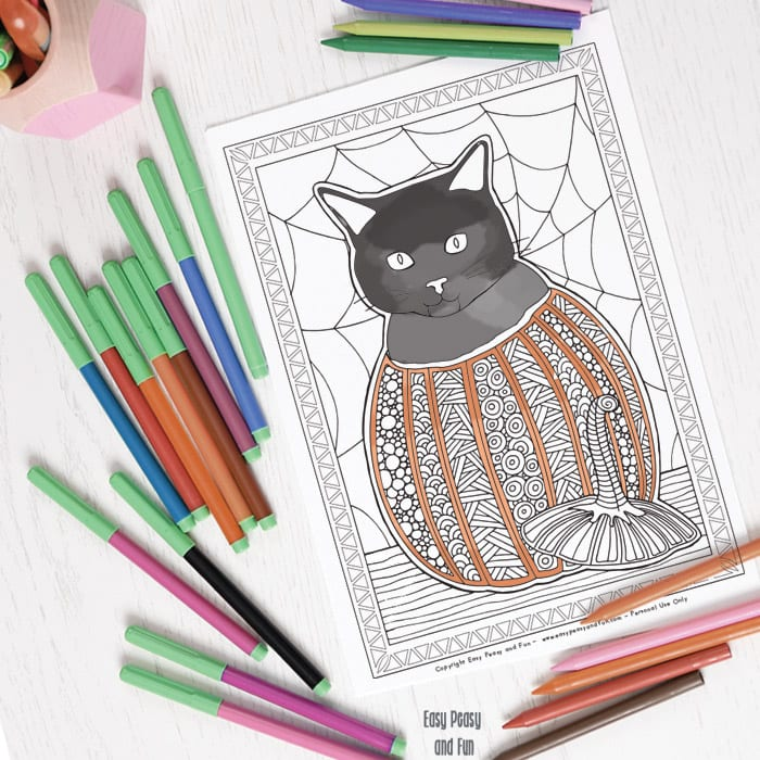 Cat in a Pumpkin Halloween Coloring Page Easy Peasy and Fun