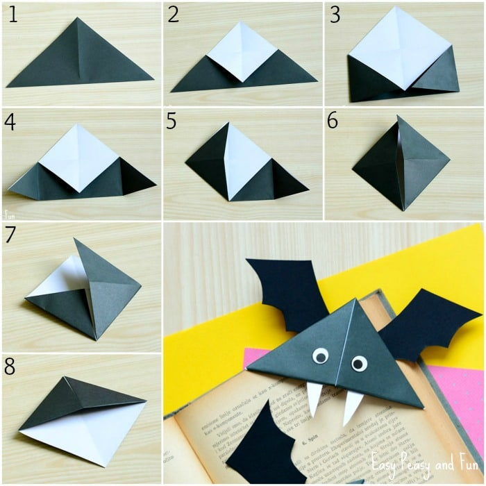 How To Make A Corner Bookmark : Diy bat corner bookmarks halloween crafts easy peasy