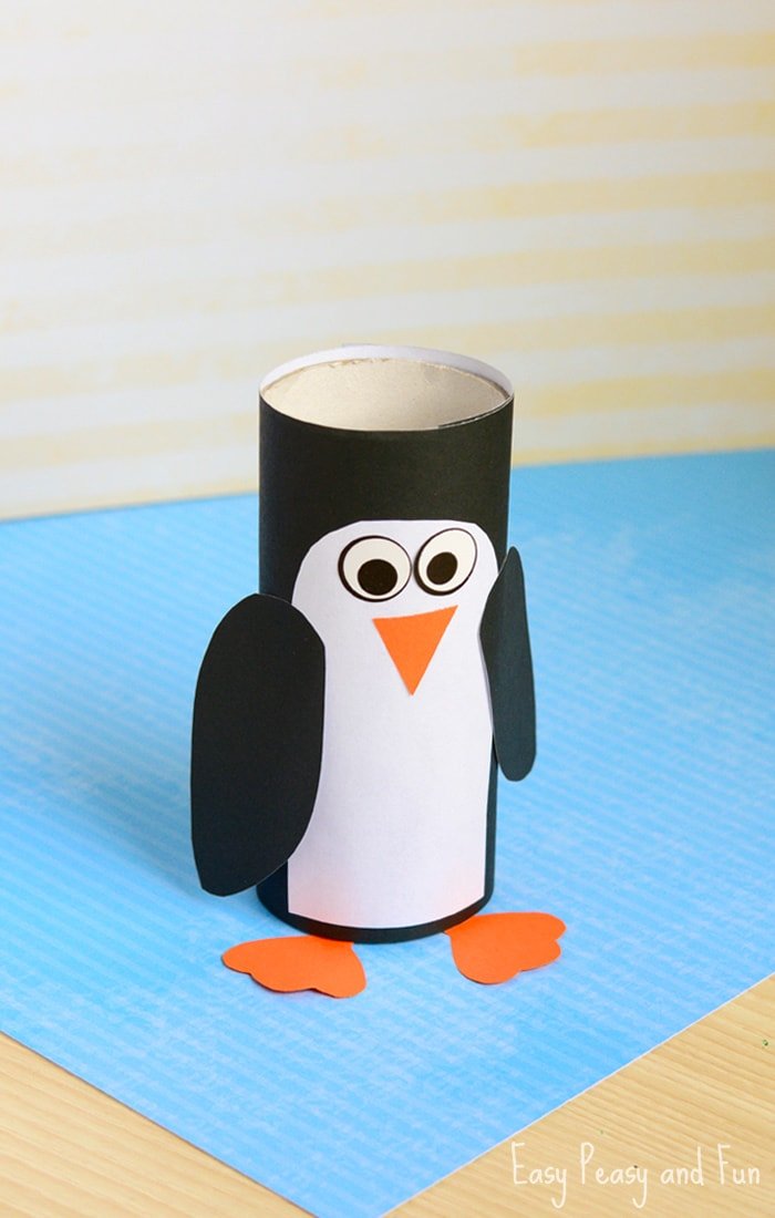 Paper roll penguin craft winter crafts for kids easy for How to make winter crafts