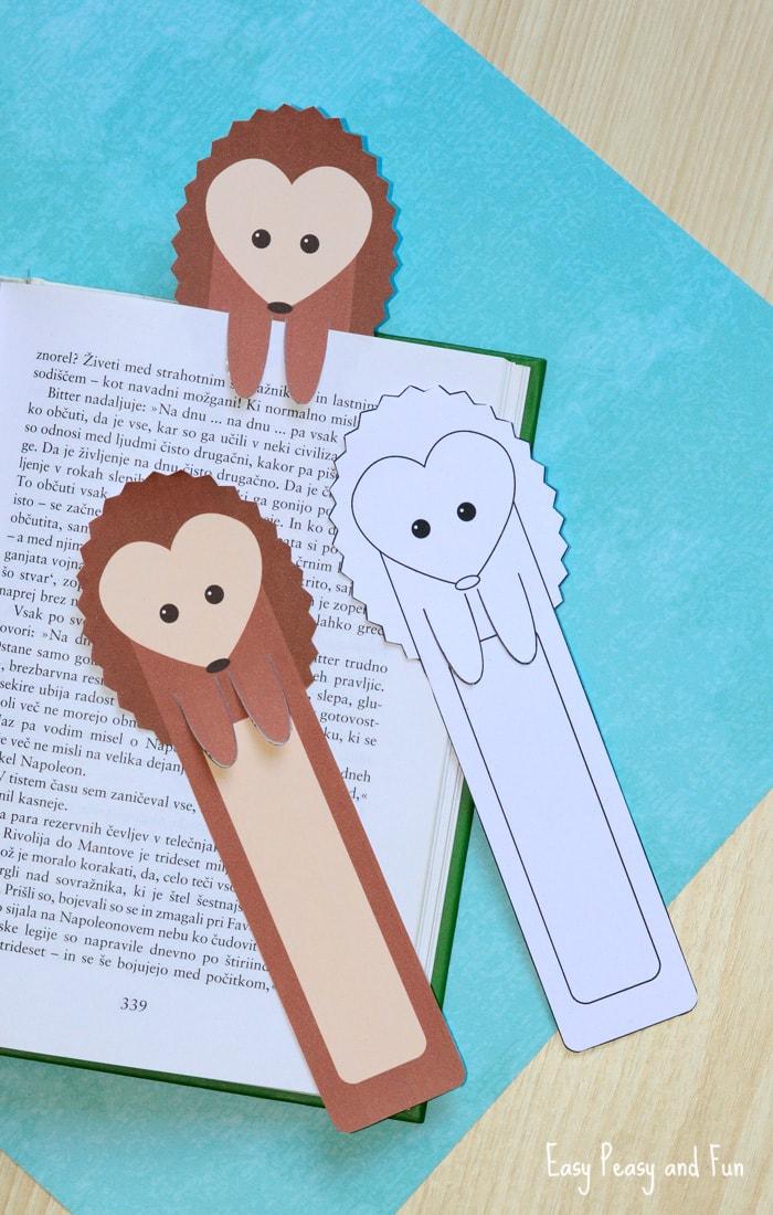 Printable Hedgehog Bookmarks for Kids