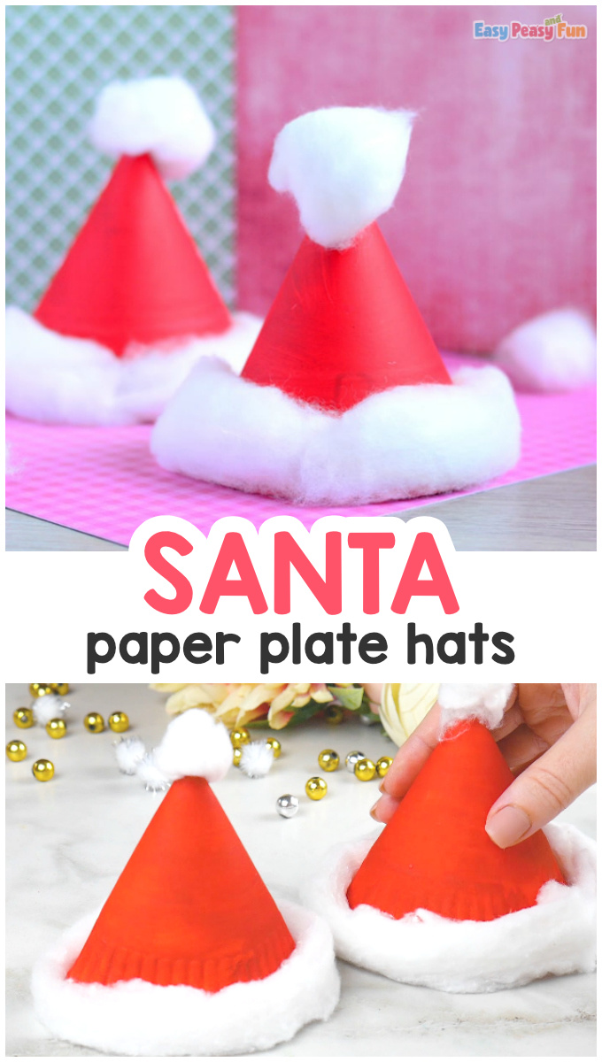 Santa Hats Paper Plate Christmas Craft for Kids