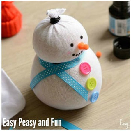 No-Sew Sock Snowman Craft - Easy Peasy and Fun