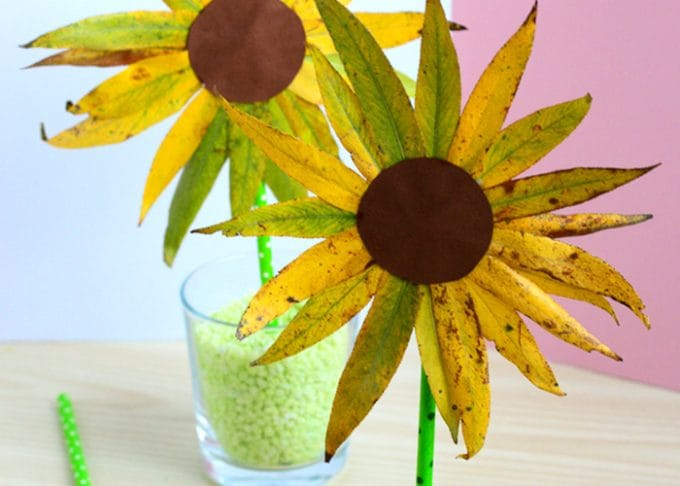 Leaf Sunflower Craft – Fall Crafts for Kids