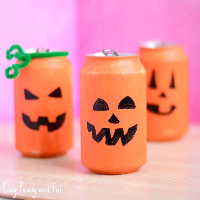 Tin Can Pumpkin Craft - Halloween Crafts for Kids - Easy Peasy and Fun