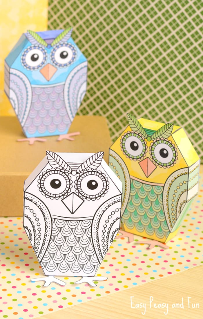 Adorable Owl Paper Toys to Color