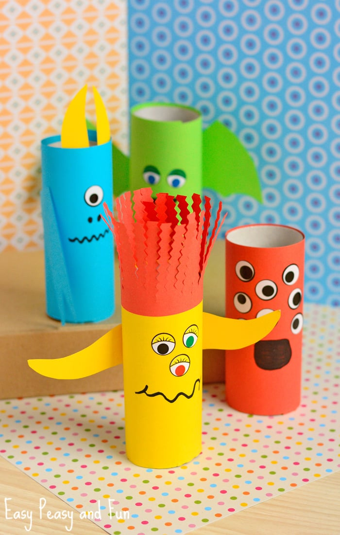 Paper Roll Monsters Halloween Craft for Kids