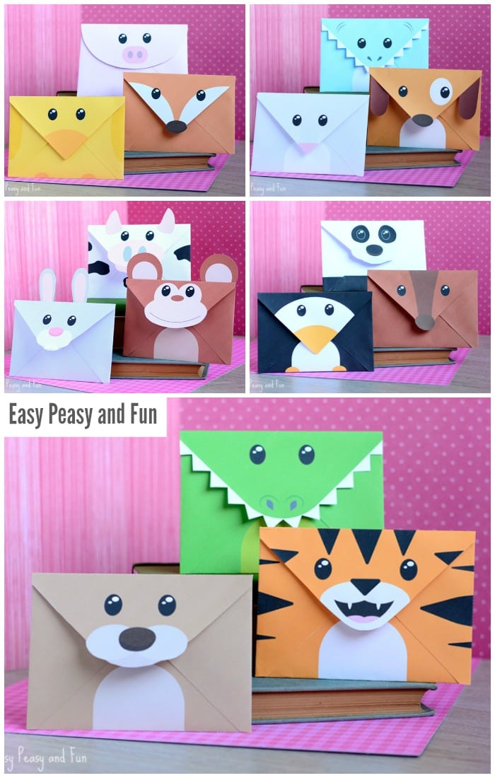 Printable silly animals envelopes easy peasy and fun for Andy panda jardin de infantes